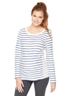 High-low Hem Maternity Sweatshirt, Blue And Creme