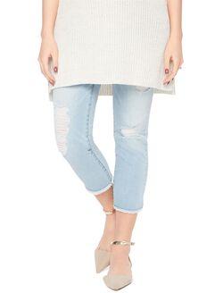 Indigo Blue Secret Fit Belly Fray Maternity Crop Jeans, Light Wash