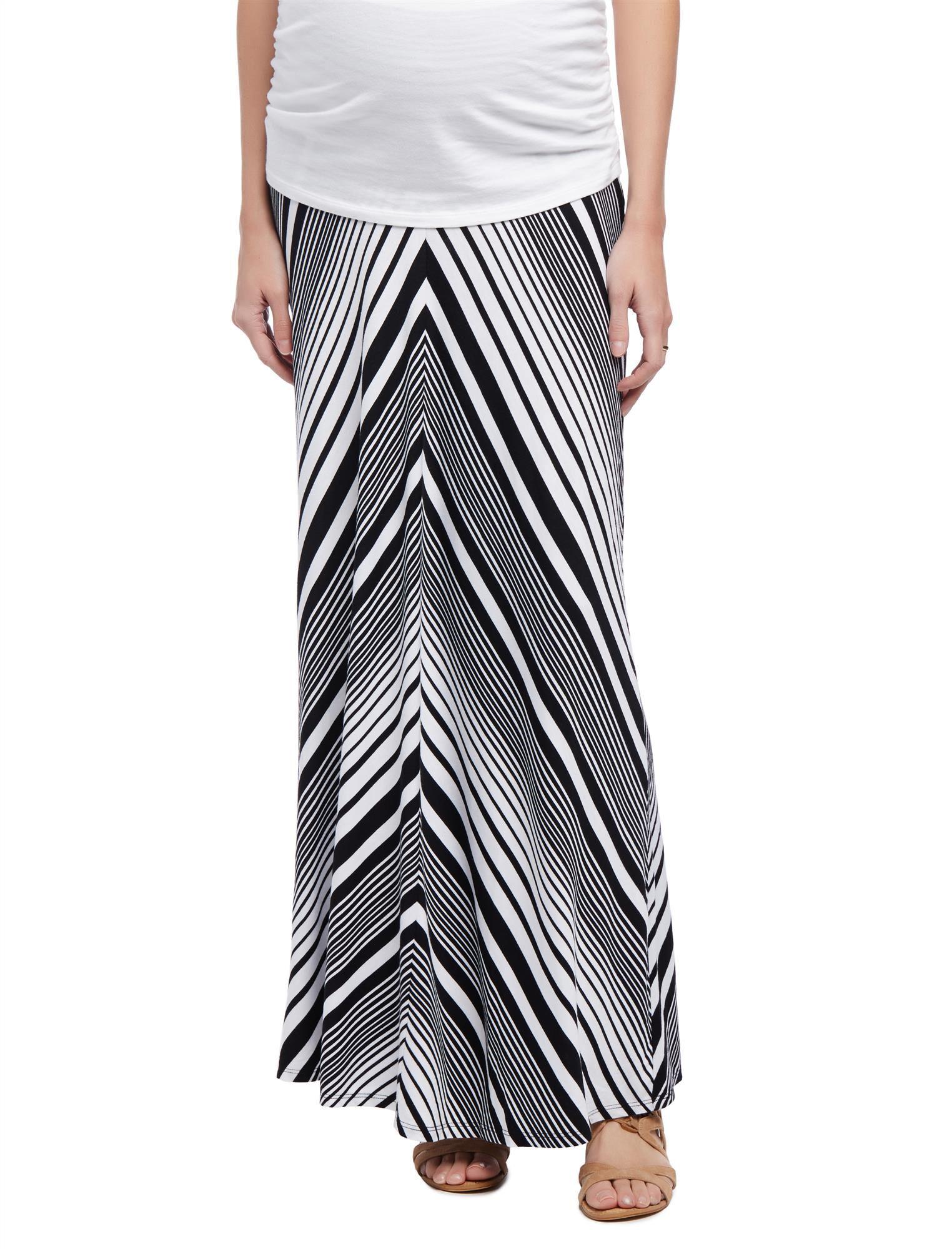 Fold Over Belly Maternity Maxi Skirt- Black/White Stripe