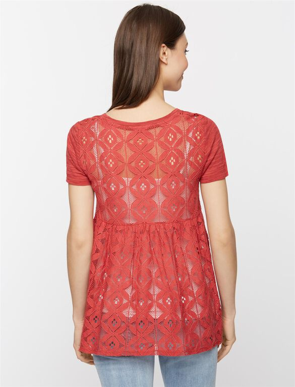 Lace Back Maternity Top, Vintage Red