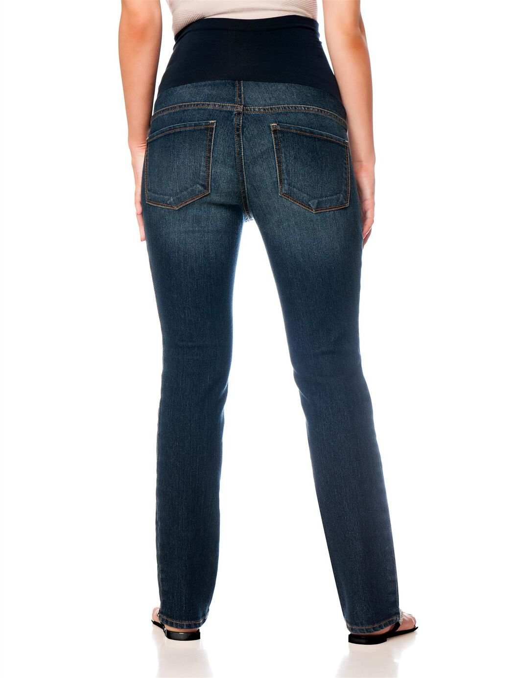 indigo blue premium maternity jeans secret fit belly (r) us patent nos re re and medium wash skinny leg 5 pocket destructed 31 inch inseam cotton / spandex cross hatch denim machine washable imported/5(46).