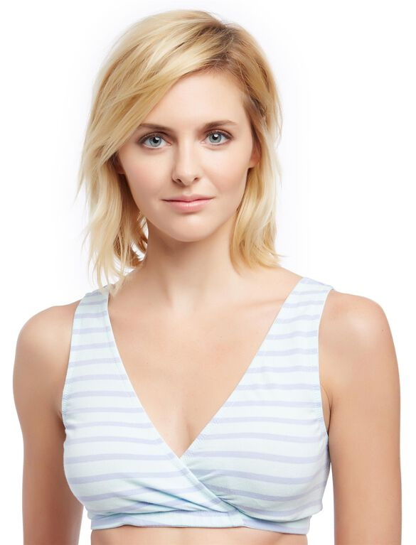 Full Busted Wrap Nursing Sleep Bra- Violet Stripe, Violet Stripe