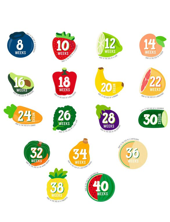 Pearhead Pregnancy Fruit Belly Stickers, Fruit