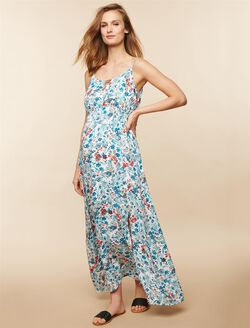 Floral Maternity Maxi Dress, White Floral