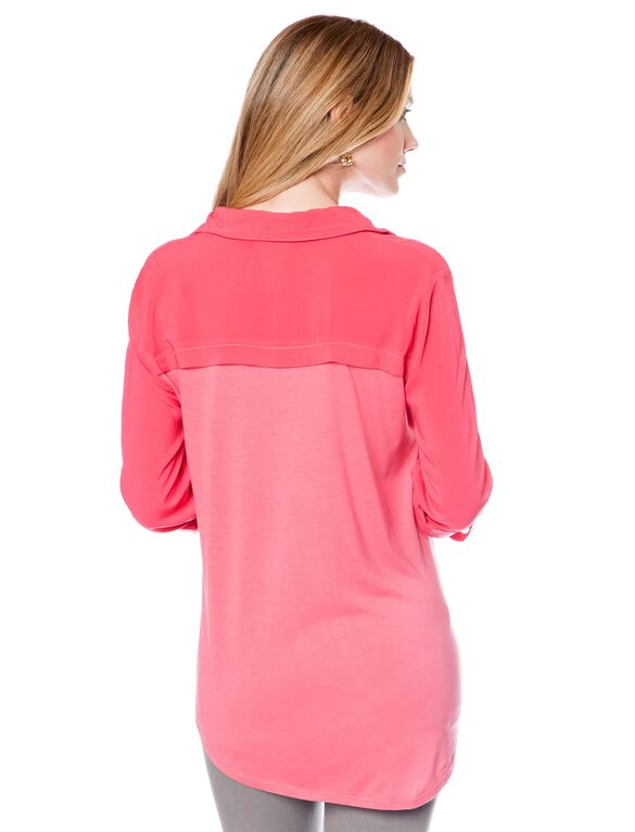 Splendid Convertible Sleeve Maternity Blouse, Pink