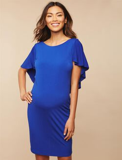 Flutter Sleeve Maternity Dress, COBALT BLUE