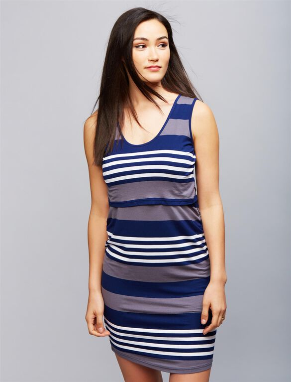 Ripe Lift Up Nursing Dress, Mdnight/Wht Stripe