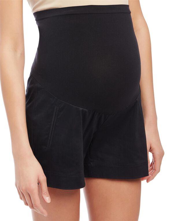 Secret Fit Belly Sateen Maternity Shorts- Solid, Black