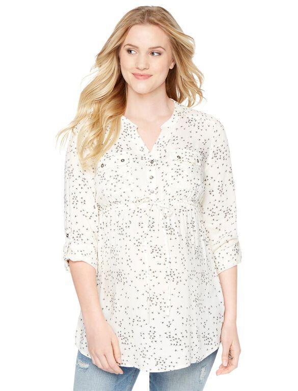 Tie Front Maternity Tunic- Wish Print, Cream Wish Print
