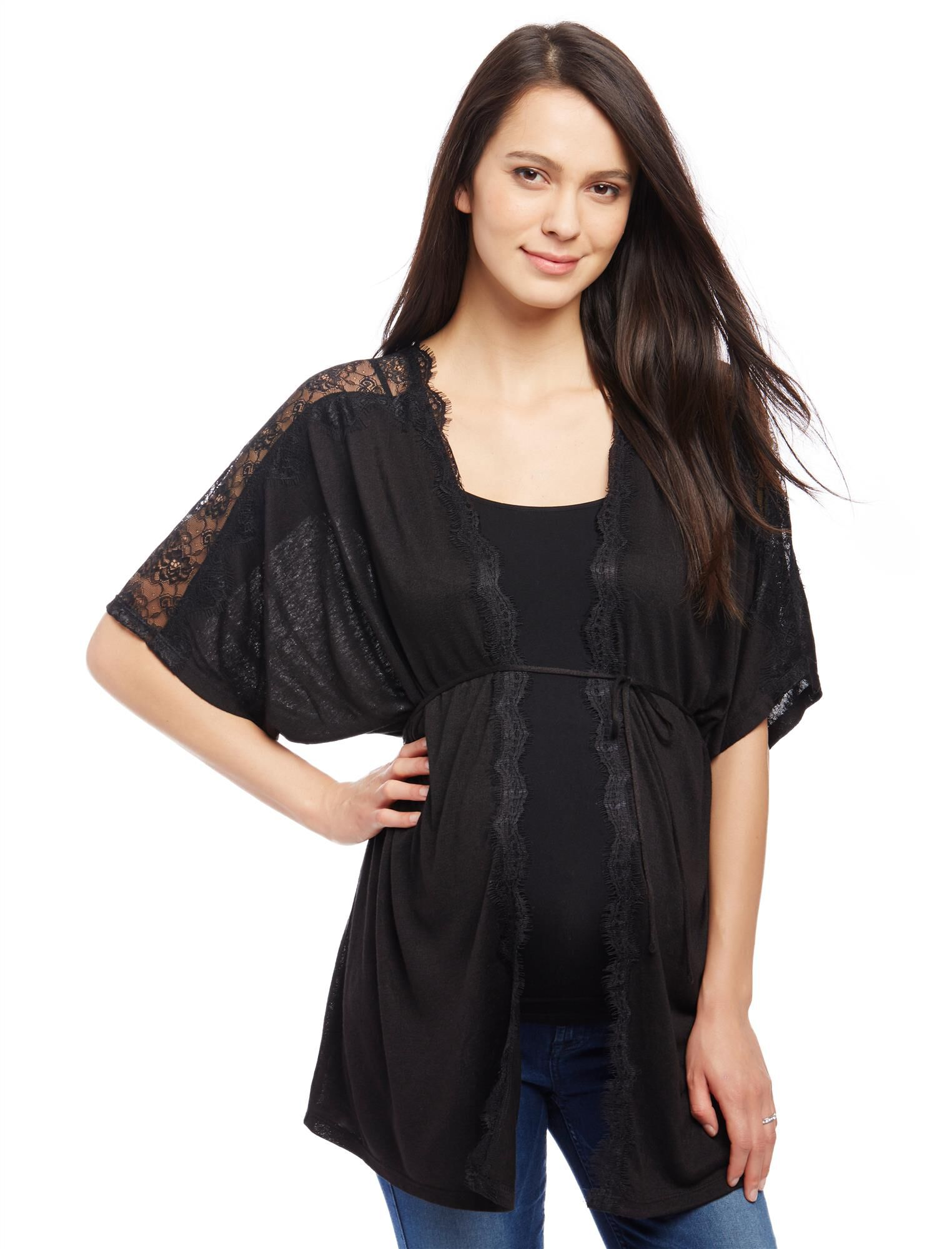 Lace Shoulder Maternity Cardigan