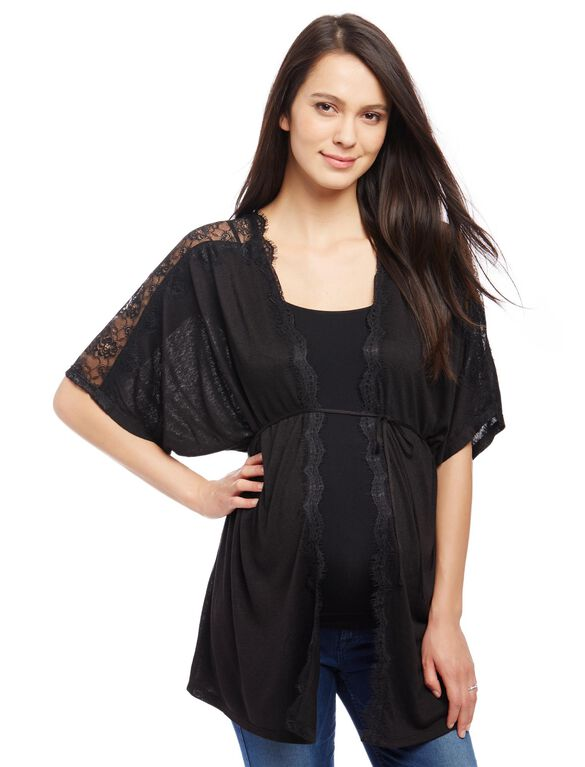 Lace Shoulder Maternity Cardigan, Black