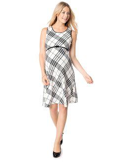 Glen Plaid Belted Maternity Dress, Black/White