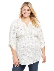 Plus Size Tie Front Maternity Top- Ivory Wish Print, Ivory Wish Print