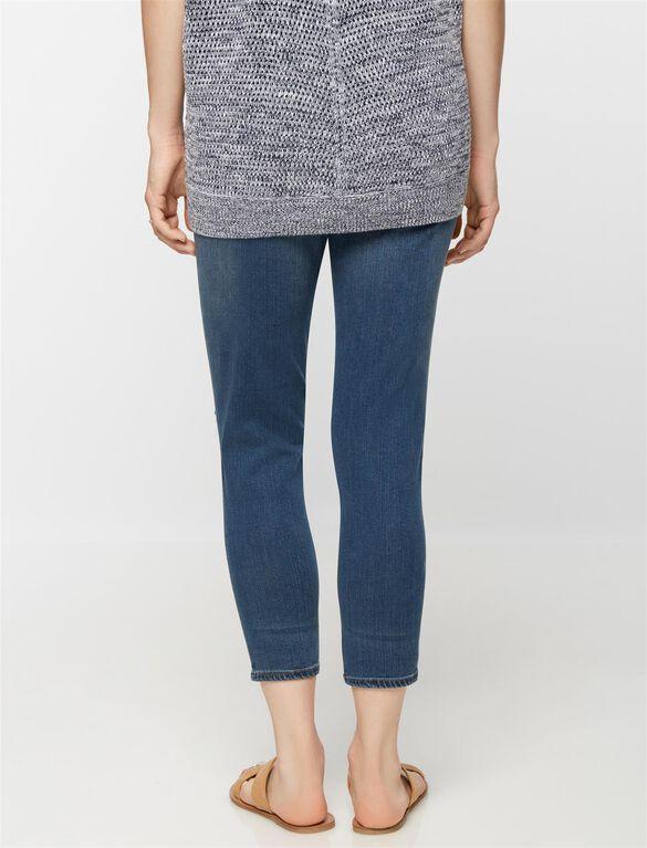 Luxe Essentials Denim Secret Fit Belly Maternity Boyfriend Jeans, Dark Wash
