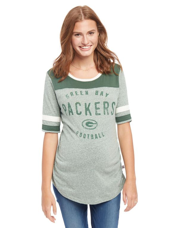 Green Bay Packers NFL Elbow Sleeve Maternity Graphic Tee, Packers Green