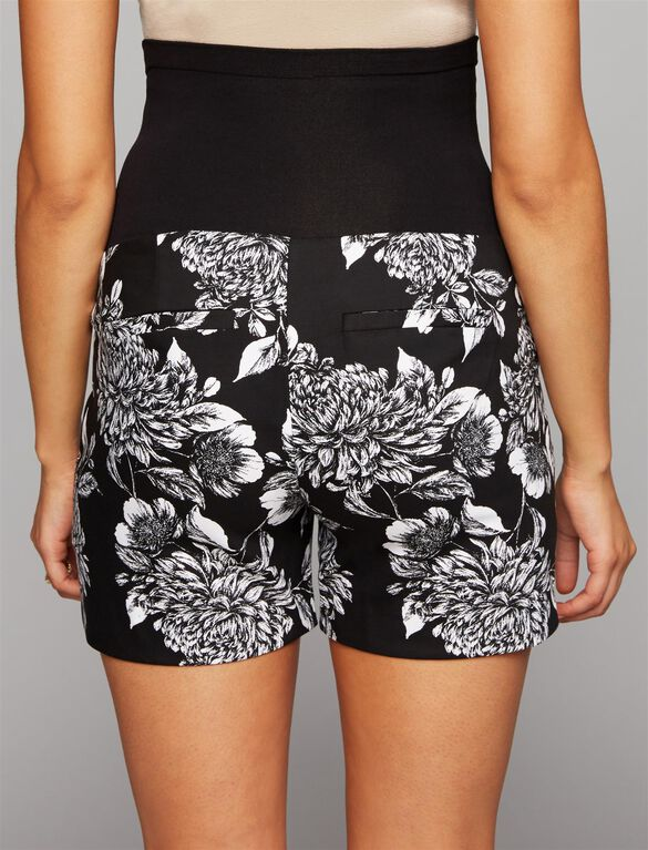 Secret Fit Belly Tailored Maternity Shorts, Black Floral