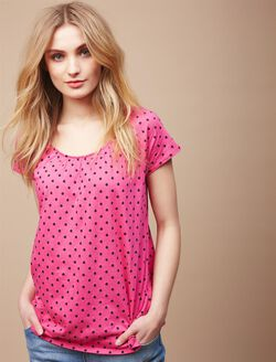 Pull Down Raglan Sleeve Nursing Tee, Camellia/Navy Dot