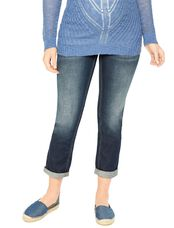 Indigo Blue Secret Fit Belly Straight Leg Maternity Crop Jeans, Dark Wash