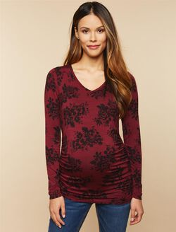 Long Sleeve Maternity Tee, Zin Spacedye