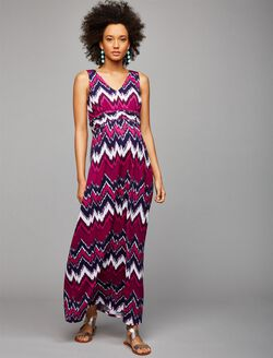 Sleeveless Ruched Waist Maternity Maxi Dress- Pink Chevron, Pink Chevron Stripe