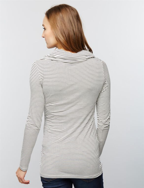 Cowl Off The Shoulder Maternity Top- Black/White Stripe, Black/White Stripe