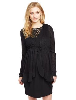 Tie Front Maternity Cardigan, Black