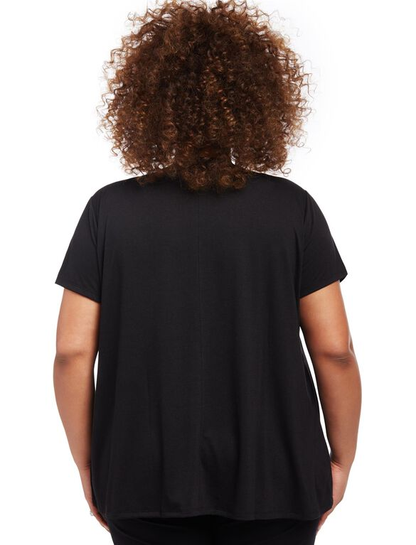 Plus Size Lift Up Relaxed Fit Nursing Tee, Black