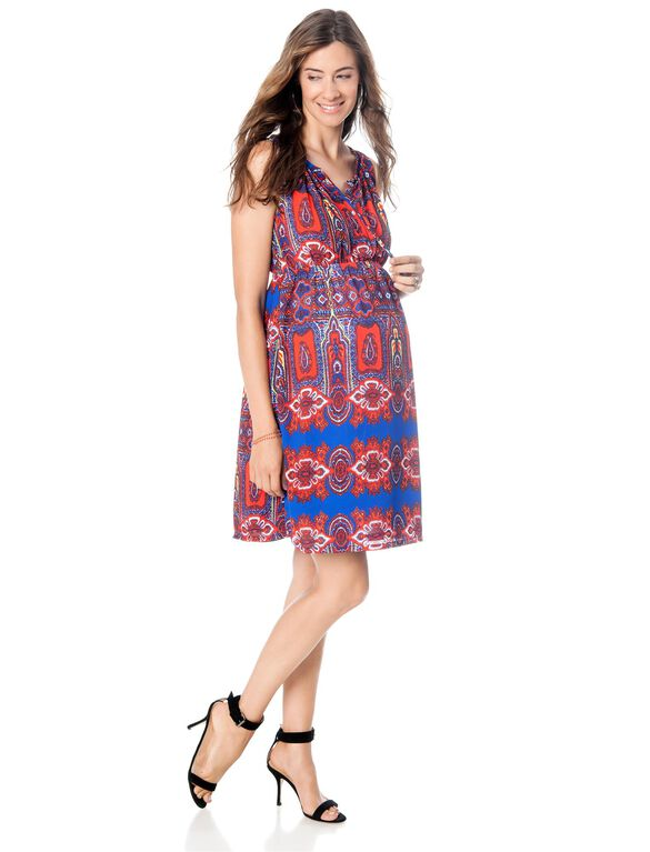 Button Front Maternity Dress, Red Print