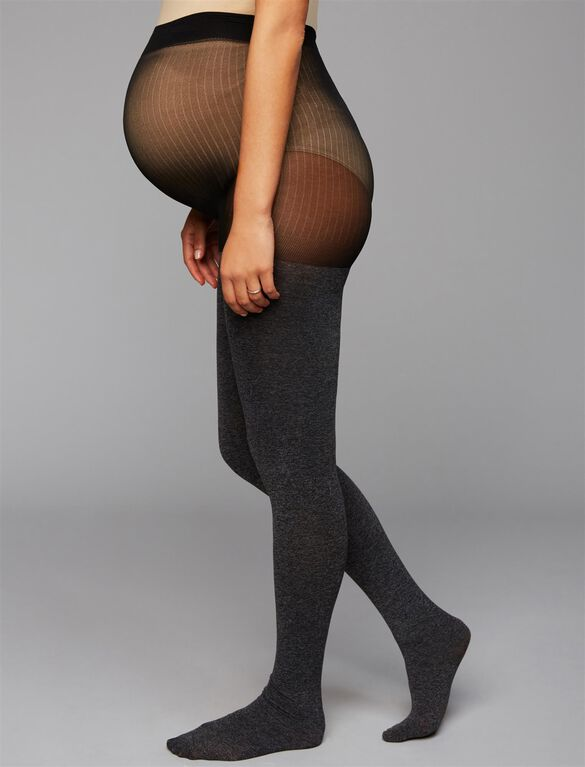 Opaque Maternity Tights- Grey, Heather Gray