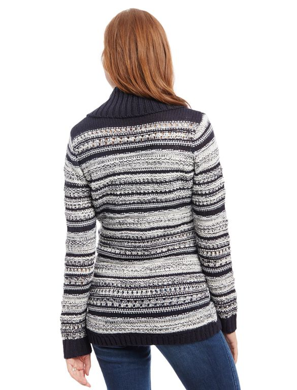 Striped Cable Knit Maternity Sweater, Navy Stripe