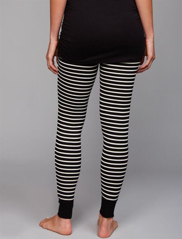 Striped Rib Knit Maternity Sleep Pants, Black White Stripe