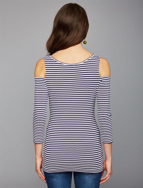 Pietro Brunelli Cold Shoulder Maternity Top, Mini Stripe