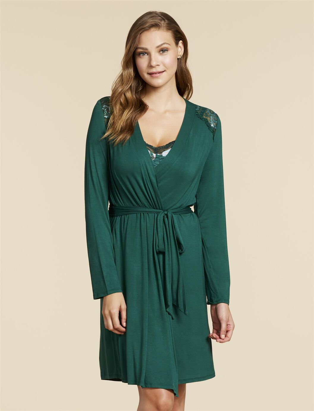 Jessica Simpson Lace Trim Maternity Robe at Motherhood Maternity in Victor, NY | Tuggl