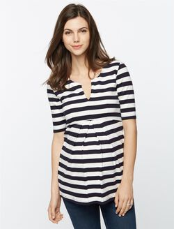 Isabella Oliver Baywood Striped Maternity Top, Navy/White Stripe
