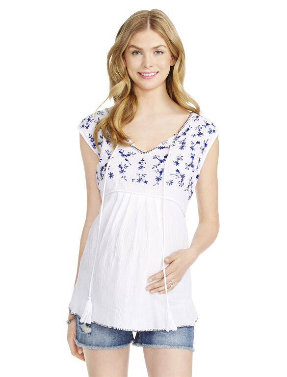 Jessica Simpson Tie Detail Maternity Top, White