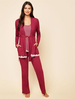 Lace Trim 3 Piece Maternity Pajama Set, Beet Red Stripe