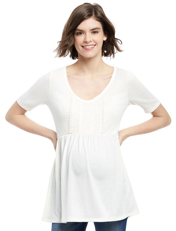 Lace Trim Maternity Top, White