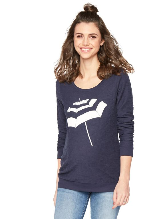 Screen Print Maternity Sweatshirt, Navy