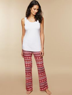 Maternity Sleep Pants, Red Fairisle