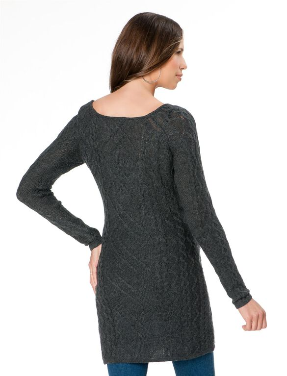 Cable Knit Maternity Sweater, Charcoal