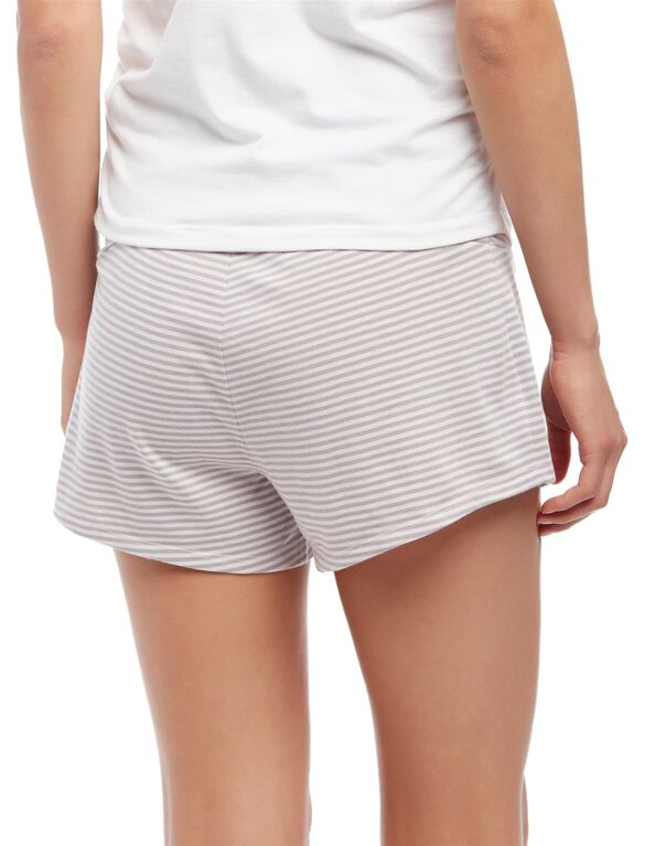 Relaxed Fit Maternity Sleep Shorts- Stripe, Pink/Pale Stripe