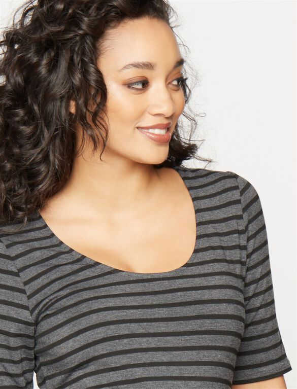 Striped Side Ruched Maternity Tee- Charcoal/Black, Charcoal/Black