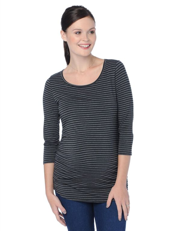 Scoop Neck Side Ruched Maternity Top, Grey/Black Stripe
