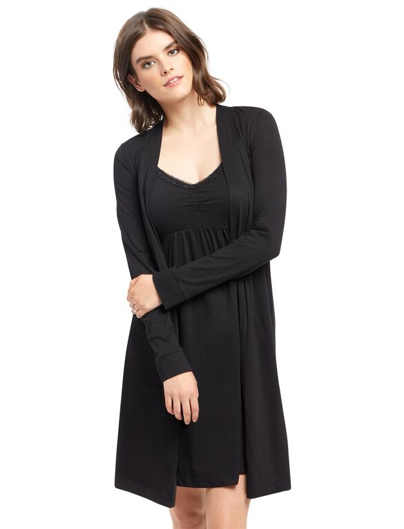Bump In The Night Nursing Nightgown And Robe- Stripe, Black