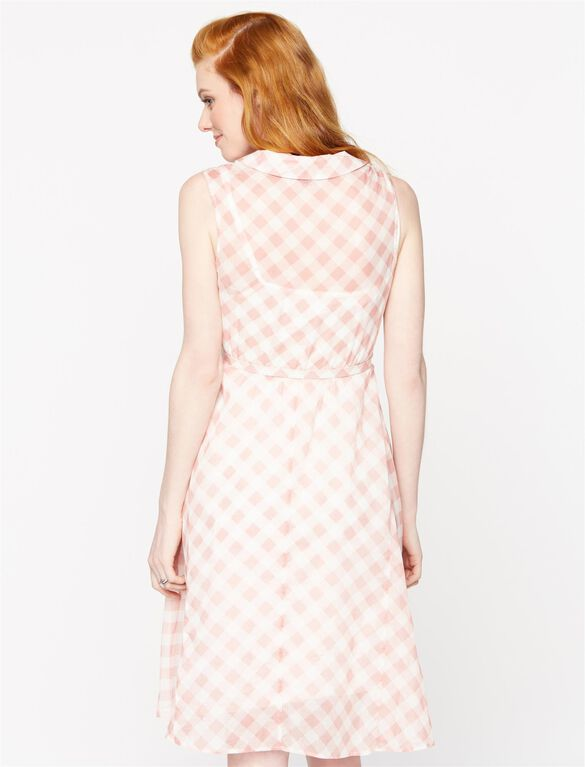 Seraphine Belted Maternity Dress, Pink Print