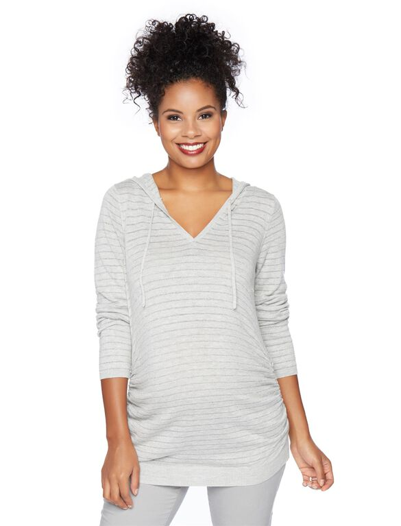 Hooded Pullover Maternity Sweater, Grey Lyrex