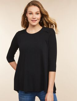 Jessica Simpson Pull Over Nursing Top- Black, Black