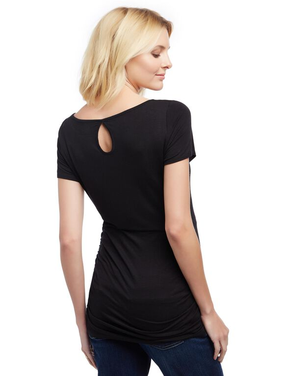 Lace Detail Side Ruched Maternity Tee- Solid, Core Black