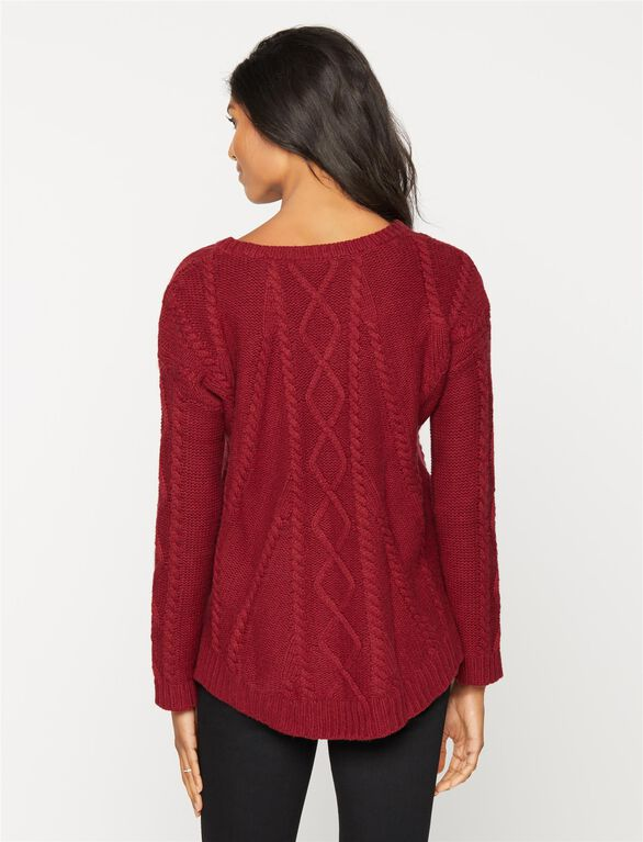 Splendid Cable Knit Maternity Sweater, Claret Red