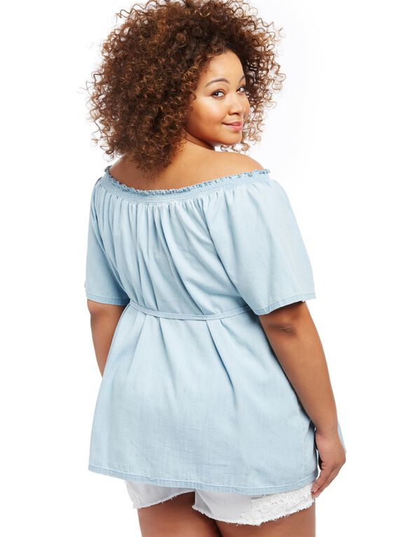 Plus Size Off The Shoulder Chambray Maternity Top, Blue Chambray